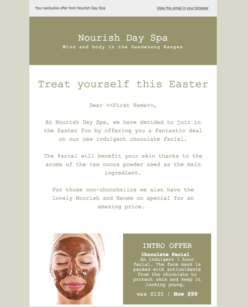 Nourish Day Spa Email Marketing